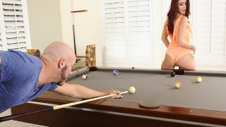 Monique Alexander fucking in the pool table with her tattoos - My Dad's Hot Girlfriend