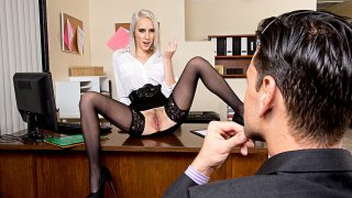 Cadence Lux fucking in the chair with her average body - Naughty Office