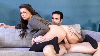 Allie Haze fucking in the couch with her natural tits - Neighbor Affair