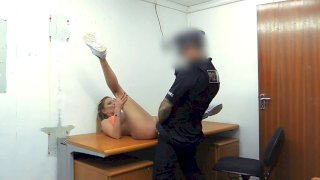 Hot gym MILF pulled over and fucked - Fake Cop