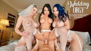 Kit Mercer is getting married and her bridesmaids, Eve Marlowe & Gianna Grey, surprise her with one last ride on a big dick together - Naughty Weddings